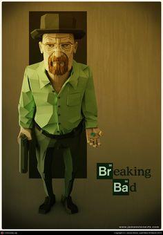 """Darstellung eines Serien Caracters """"Heisenberg"""", aus """"Breaking Bad"""" einer hochgelobten und sehenswerten amerikanischen TV Serie.Die Darstellung ist 3D Art Work, mit einer leicht comichaften Anmutung und teilweise leicht überzogenen Proportionen. Insgesamt aber sehr Gelungen und in schönen Grün und Braun Farbtönen gehalten."""