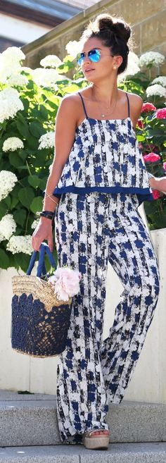 Blue And White Summer Set by Fashion Hippie Loves. I absolutely love this.