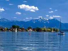 Prien region and Fraueninsel in lake Chiemsee
