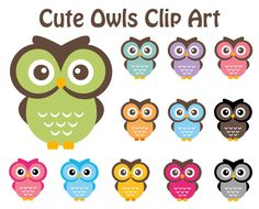BUY 2 GET 2 FREE - Owl Clip Art - 12 Digital Cute Owls - Personal and Commercial Use. $5.00, via Etsy.