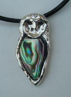 Barn Owl Abalone Pendant  Necklace di HystericOwl su Etsy