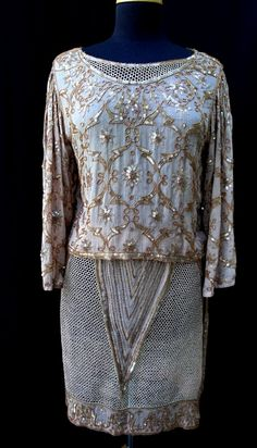 Vintage 1920's Replica Beige Gold Silk Formal Women Skirt Suit with Metal Mesh Lace Sequins Beads Edwardian Style Size Small S Medium M 112