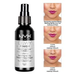 NYX Makeup Setting Spray Dewy Finish // I have this and Im a HUGE fan! #nyx #makeup