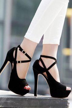 9a01ad560c86 2015 New Lady s Platform Stiletto High Heels Belt Buckle Peep Toe Shoes  Sandals Hot High Heels