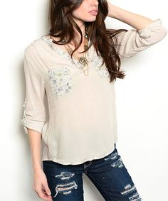 Another great find on #zulily! Sand & Blue Floral Tab-Sleeve Top by  #zulilyfinds