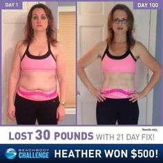 "Her ""after"" photo may be out of focus but the results of her hard work are clear as day. That's 100 days of commitment right there!  21 Day Fix  Shakeology results: Beachbody Coach Heather Koons lost 30 lbs in 100 days! ""Im a single mom to a 10-year-old boy. I needed to get healthy not just thin  for me and my son. The [21 Day Fix] exercises are only 30 minutes a day and I do them first thing in the morning. Its a mood booster and calorie burner.  I can see a huge difference in the photos…"