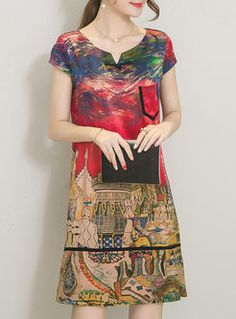 Vintage Multi Print Loose Dress