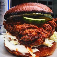 [I ate] Hot Fried Chicken Sandwich With Vinegar Pickles and Lemon Aioli on a Brioche Bun