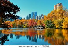 Central Park Autumn and buildings reflection in midtown Manhattan New York City - stock photo Central Park, East River, Vancouver, Tokyo, Skyline, Manhattan New York, Columbus Day, Places To See, Monument Valley