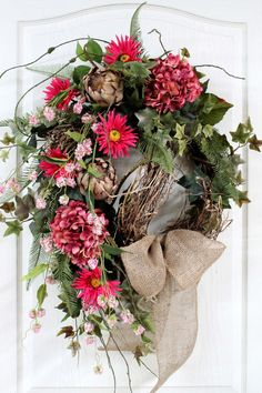 Summer Wreaths for Doors | Spring Wreath Summer Wreath Front Door Wreath by FloralsFromHome
