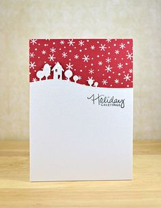 Christmas card - memorybox modern landscape die - clean and simple red starry sky - house & trees die cut - elegant simplicity Homemade Christmas Cards, Stampin Up Christmas, Christmas Cards To Make, Noel Christmas, Xmas Cards, Christmas Greetings, Homemade Cards, Handmade Christmas, Holiday Cards