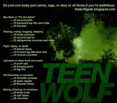 Teen Wolf exercise game for arms, legs, or abs! Work out while you watch TV!