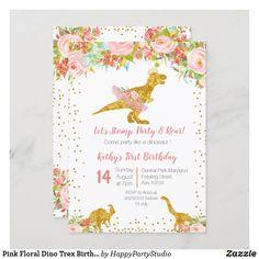 Pink Floral Dino Trex Birthday Invitation Dinosaur Invitations, First Birthday Invitations, Dino Trex, Dinosaur First Birthday, White Envelopes, First Birthdays, Floral, Party, Pink