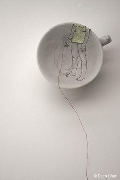 Porcelain cup, silk, thread - Diem Chau