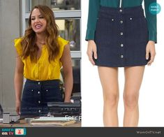 04174da7ded4f8 Sofia's button front skirt on Young and Hungry. Outfit Details: https://