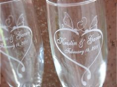 Butterfly Heart- Engraved Wedding Glass Toasting Flutes