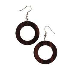 Make any outfit bohemian chic by accessorizing with these cool retro wooden earrings. The earthy, organic look of these sophisticated circles is the perfect accent for dressing up or down.