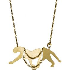 Monserat De Lucca Brass Cougar Necklace ($65) ❤ liked on Polyvore