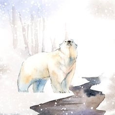 Hand-drawn polar bear in the snow watercolor style vector | free image by rawpixel.com / Niwat Polar Bear Paint, Polar Bear Drawing, Penguin Watercolor, Watercolor Animals, Polar Bear Images, Polar Bear Illustration, Bear Sketch, Penguins And Polar Bears, Polaroid