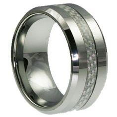 Athene Inlaid White Tungsten Wedding Band for Men 10mm