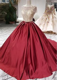 Fashionable Tulle & Satin Bateau Neckline Ball Gown Wedding Dress With Lace Appliques & Beadings & Bowknots - Adasbridal.com