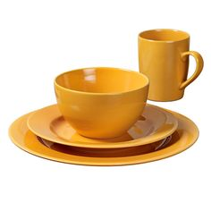 16-Piece Round Ceramic Dinnerware Set, Yellow