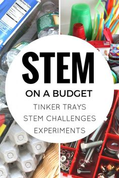 Inexpensive STEM ideas and budget STEM supplies and activities for kids. Building structures, STEM challenges, tinker tray ideas and science experiments for preschool, kindergarten, and early elementary age kids. Stem Science, Preschool Science, Science For Kids, Science Classroom, Earth Science, Science Today, Science Centers, Math Stem, Summer Science