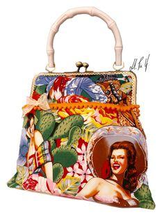 Nuevo bolso boquilla metálica, estampado retro, mujeres mexicanas Disponible en www.hadaspinup.com