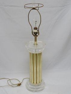 "CHIC VINTAGE 1990 BAUER BRASS SCULPTURE LUCITE TABLE LAMP ~ 32"""