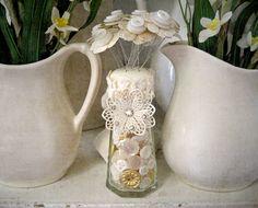 Button Bouquet in Button Filled Salt Shaker Shabby Wedding Favor Decor. $29.00, via Etsy.