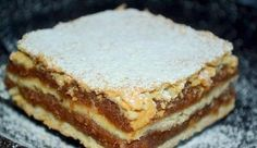 Majestic this simple cake!, Food And Drinks, Mom& shortbread apple. Hungarian Desserts, Hungarian Recipes, Fall Desserts, Just Desserts, Cookie Recipes, Dessert Recipes, Drink Recipes, Easy Sweets, Czech Recipes