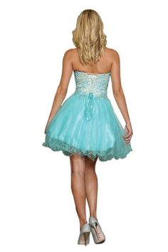 Prom Short Mini Lace Applique Strapless Beaded Sequins Tulle Sassy Beaded Dress