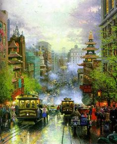 """China Town"" - Adapted from Artwork ""San Francisco, California Street"" by Thomas Kinkade - Description of painting: San Francisco, A View Down California Street From Nob Hill. Nob Hill in San Francisco is located near Chinatown. Thomas Kinkade Art, Kinkade Paintings, Thomas Kincaid, Art Thomas, San Francisco California, Realism Art, Caricatures, Landscape Art, Amazing Art"