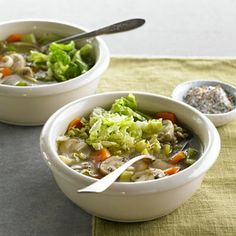 Chunky Vegetable-Lentil Soup Recipe Soups with olive oil, onion, garlic, French lentils, mushrooms, carrots, celery, water, vegetable broth, salt, ground black pepper, red cabbage