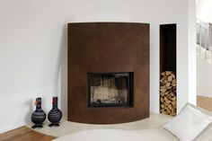 Beautiful fireplace made of rusted steel in Hamburg, Germany