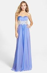 La Femme Lace Appliqué Sheer Back Strapless Chiffon Gown