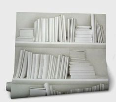 Mineheart white book shelf wallpaper - Shop Tent