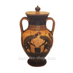 On the front side, black figured amphora illustrates Achilles and Ajax playing pessaries, a game of dice during a moment of relaxation from the Trojan War. The Rear side illustrates the return of Dioscuri, the twin brothers. Trojan War, Classical Period, Greek Pottery, Black Figure, Twin Brothers, Achilles, Hercules, Ancient Greek, Dice