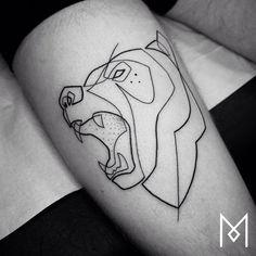 single line bear tattoo