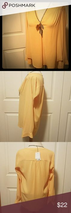 NWT Pleione Blouse Size XS, brand new with tags $64 retail! Originally from Nordstrom. Long sleeved, 100% polyester, gentle cycle and hang dry.   Almost like a sunny yellow color. PERFECT for summer! If you are alao from Minnesota, that is one thing we can finally start dressing for ????  It has a low hanging back to acommodate for leggings and comes with an extra button.   Pleated back and chest  A real cute one! Ask any questions! Pleione Tops Blouses