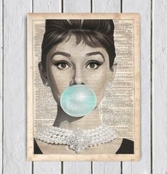 Audrey hepburne with Bubble Gum Audrey hepburn Art Print Print on Dictionary Paper Wall Decor Mixed Media Collage Dictionary Art Print (10.00 USD) by MySilhouetteShoppe