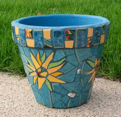 Mosaic Flower Pot Sunflowers Teal by MosaicRenaissance on Etsy