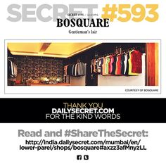 Thank you Mumbai Daily Secret (http://india.dailysecret.com/mumbai/en) for featuring us! We love being stalked :D  Go to their page to discover exciting new secrets in and around Mumbai. From hidden bars, to tucked away restaurants, their secrets will make you fall in love with Mumbai all over again!  #featured #bosquare #bespoke #store #mumbai #edgy #dapper #style #suave #instafashion #instalike #instadaily #instastyle #fashion #menswear #mensstyle #mensfashion #apparels #accessories
