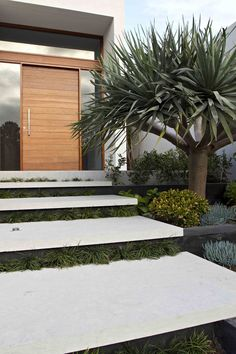 Modern House with Front Yard. 20 Modern House with Front Yard. 42 Cool and Beautiful Front Yard Landscaping Ideas On A Bud Modern Front Yard, Modern Entrance, Front Yard Design, Entrance Design, House Entrance, Entrance Ideas, Front Garden Entrance, Driveway Entrance, Walkway Ideas