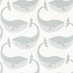 Whale of a Time Slate and Parchment wallpaper by Scion
