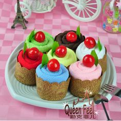 Christmas Gifts-Creative Present 4 Colors Cake Towel In PP Bag Size:30*30 cm #QueenFeel