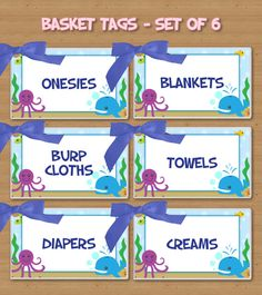 Set of 6 - Laminated Basket Tags - Sea Creatures - Royal Blue Satin Ribbon