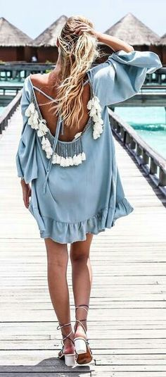 Baby Blue Dress with Tassels