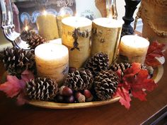 using my grandmother s dough bowl in fall decor, seasonal holiday d cor, thanksgiving decorations, This year it has a Pottery Barn inspired look filled with pine cones birch candles acorns and fall leaves Thanksgiving Decorations, Seasonal Decor, Table Decorations, Christmas Decorations, Christmas Tablescapes, Christmas Candles, Thanksgiving Ideas, Plastic Pumpkins, Pottery Barn Inspired
