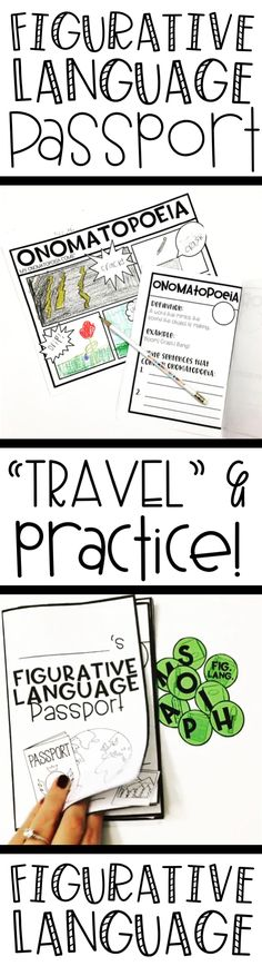 Figurative Language Passport! Have your students travel through figurative language with this passport and graphic organizers! This passport is used to help students understand the different parts of figurative language as well as to practice using them and creating them! All while providing a fun format for them to lear with!